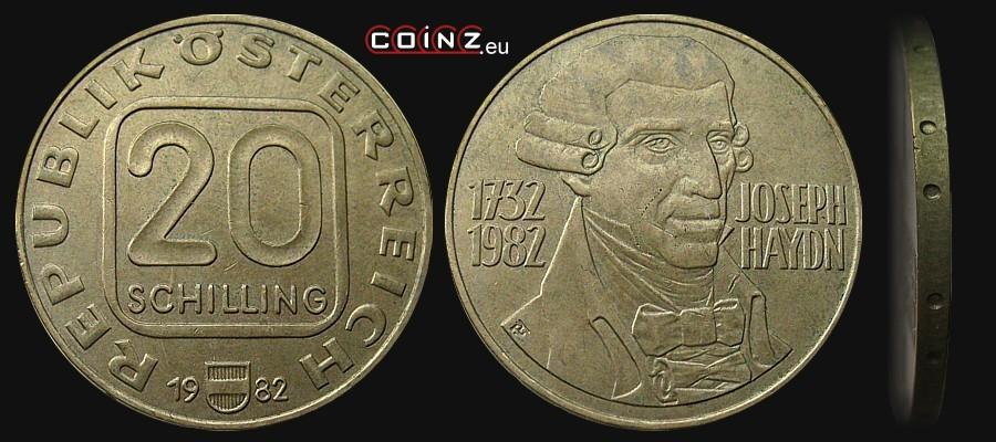 Coinz Eu 20 Schilling 1982 1993 Joseph Haydn Austrian Coins