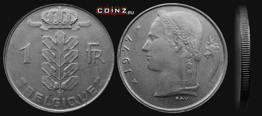 1 Franc 1950 1988 French Belgian Coins