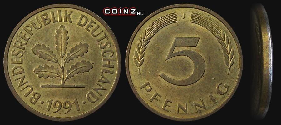 Coinzeu 5 Pfennig 1950 1996 German Coins