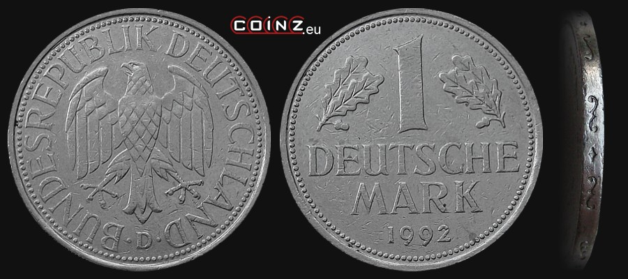 1 mark 1950 1996 german coins. Black Bedroom Furniture Sets. Home Design Ideas