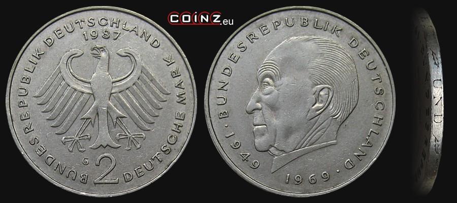 Coinzeu 2 Mark 1969 1987 Konrad Adenauer German Coins