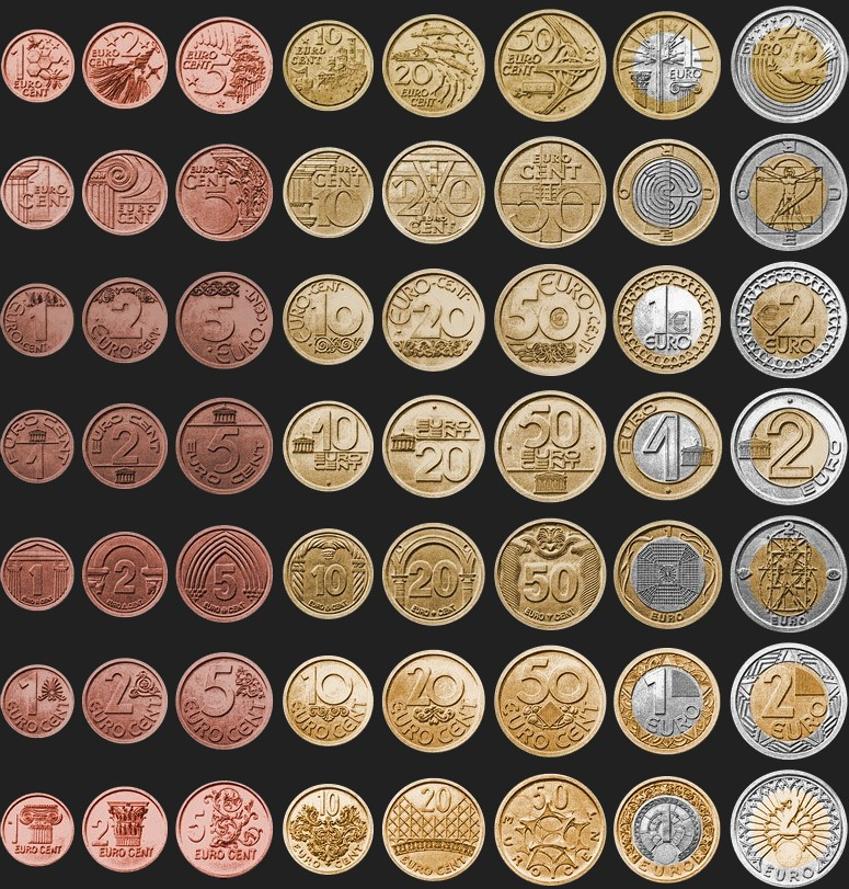 Common sides of euro coins eur from 2002 for European design
