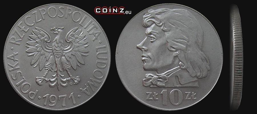 OLD COIN OF POLAND PEOPLE/'S REPUBLIC 10 ZLOTY 1970 TADEUSZ KOSCIUSZKO