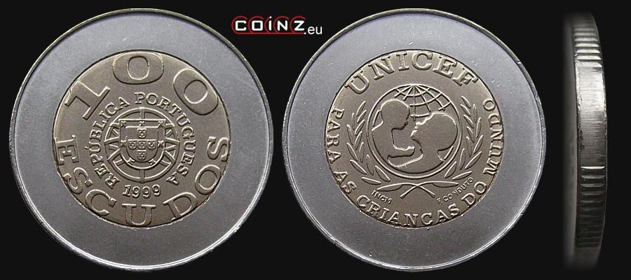"""Monedas""""disléxicas"""" 51_escudos_100_1999_unicef_portuguese_coins"""