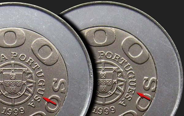 """Monedas""""disléxicas"""" Z_51_escudos_100_1999_potrugusa_vs_portuguesa_portuguese_coins"""